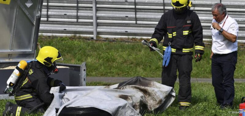 Fire in the paddock of the MotoE