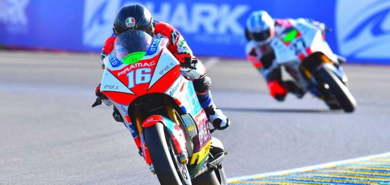 Josh Hook on the first podium in MotoE at Le Mans