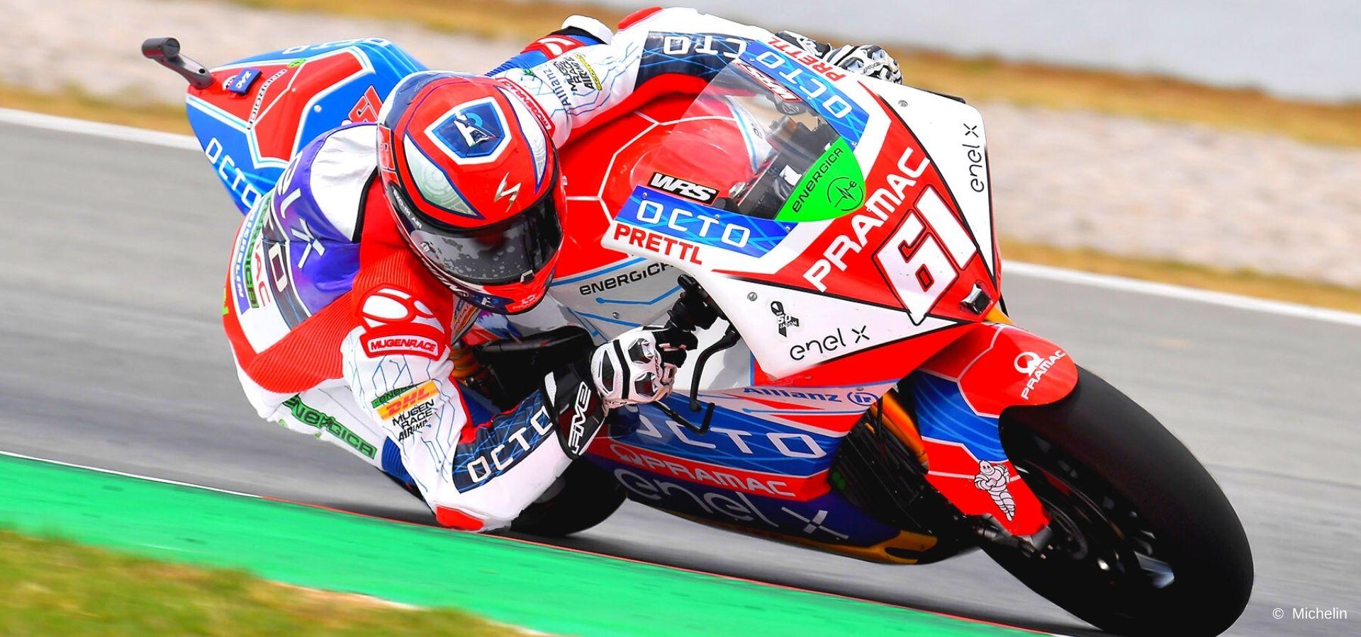 Alessandro Zaccone guida la MotoE alla vigilia della gara di Assen